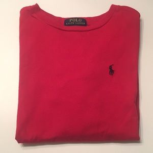 BOYS SIZE 8 (SM) RED POLO LONG SLEEVE T-SHIRT